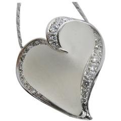 0.56 Carat Diamond Hand Carved Natural Rock Crystal Platinum Heart Pendant