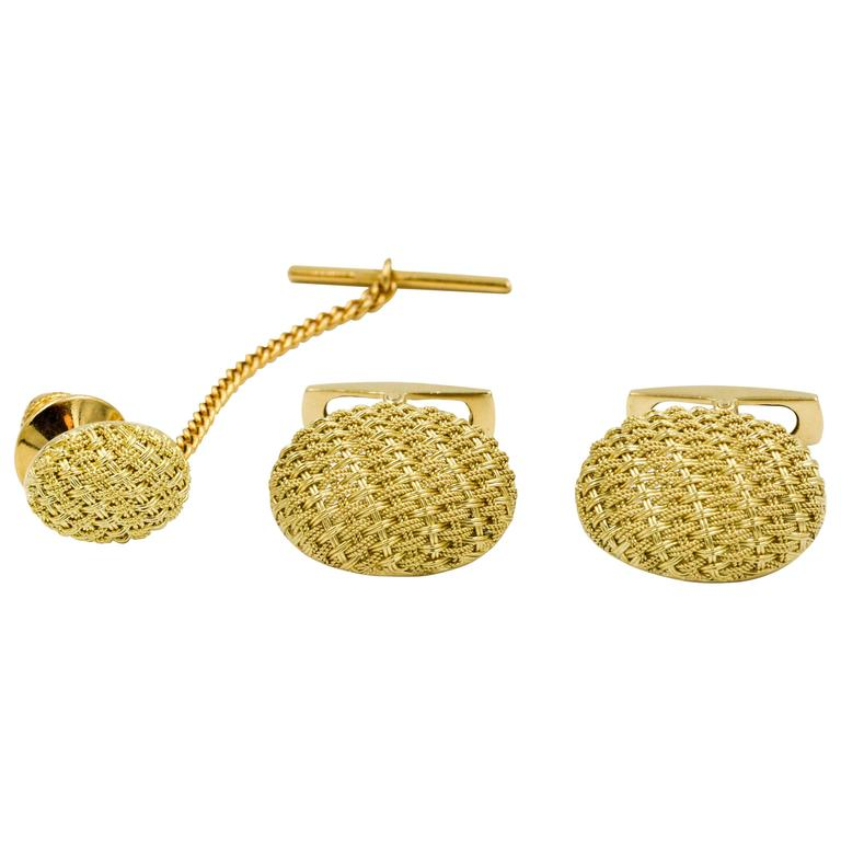 18 Karat Yellow Gold Basket Weave Cufflink and Tie Tac Set