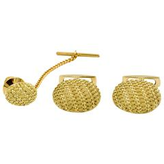 Gold Basket Weave Cuff Link and Tie Tac Set