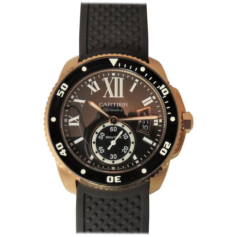 Cartier Rose Gold Calibre Diver Date black dial automatic Wristwatch For Sale