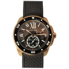 Cartier Rose Gold Calibre Diver Date black dial automatic Wristwatch