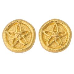 Tiffany & Co. Schlumberger Gold Sand Dollar Earrings