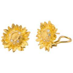 Asprey Diamond Gold Sun Flower Earrings