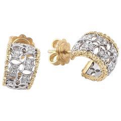 Buccellati Pair of Diamond Two Color Gold Hoop Earrings