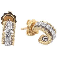 Buccellati Diamond Two Color Gold Hoop Earrings