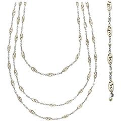 Platinum, Gold and Natural Pearl Long Chain