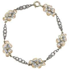 Enamel & Diamond Flower Bracelet