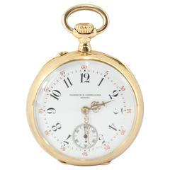 Antique Vacheron & Constantin Yellow Gold Blue Enamel Pocket Watch c1900
