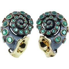 Marilyn Cooperman Cornucopia Emerald Silver Gold Patinated Earrings