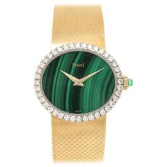 Piaget Ladies yellow Gold Diamond Malachite Manual wind Wristwatch