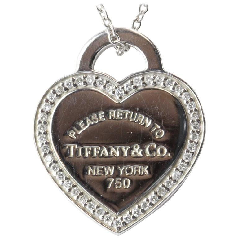 b82bab9bc Tiffany & Co. Diamond Gold Please Return to Tiffany Heart Tag Necklace For  Sale