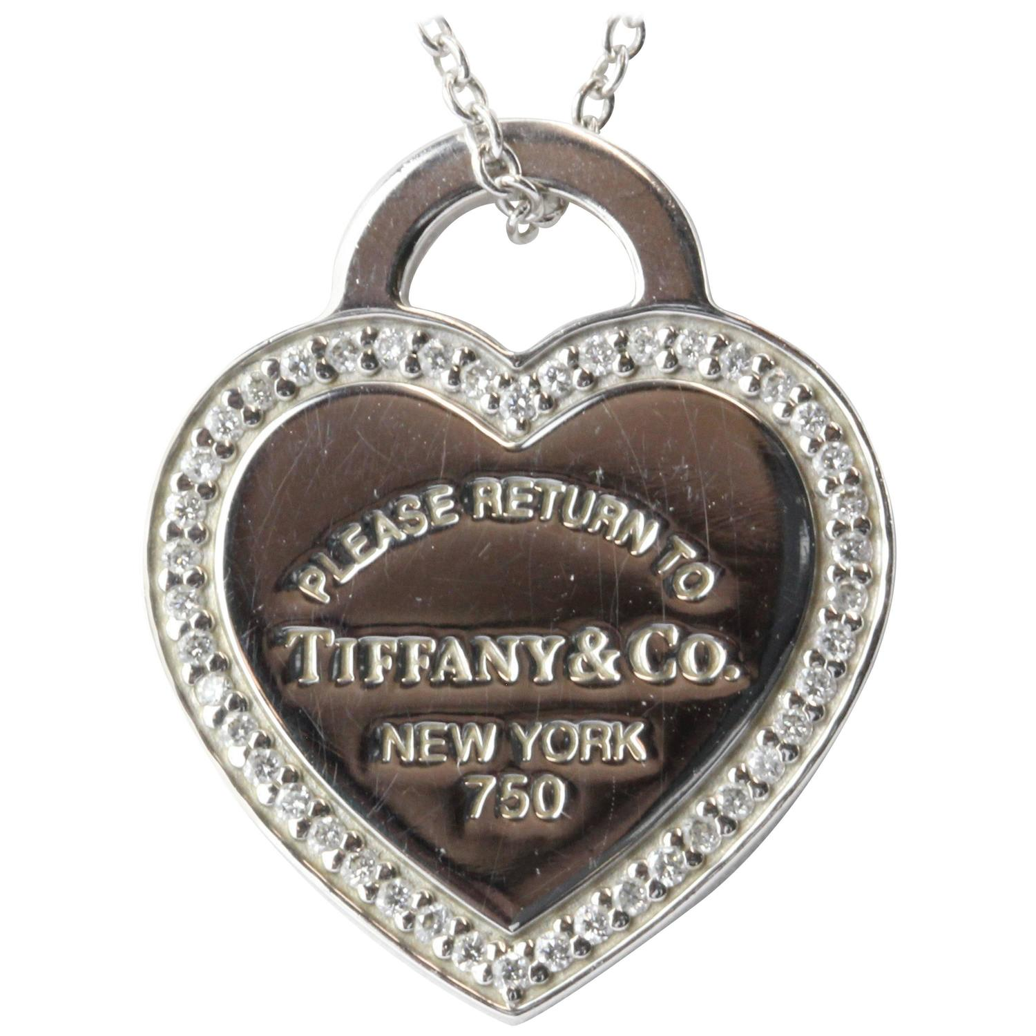 Tiffany And Co Diamond Gold Please Return To Tiffany Heart Tag Necklace At 1stdibs