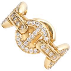 Hoorsenbuhs Classic Tri-Link Diamond Gold Band Ring