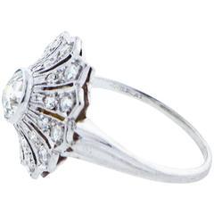 1930s Diamond Platinum Cluster Ring