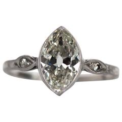 Antique 1910 Edwardian GIA Certified 1.56 Carat Diamond Platinum Engagement Ring