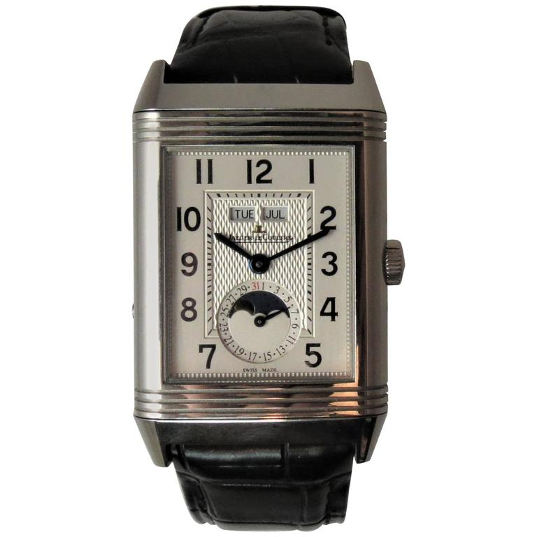 Jaeger LeCoultre Stainless Steel Grand Reverso manual wind Wristwatch