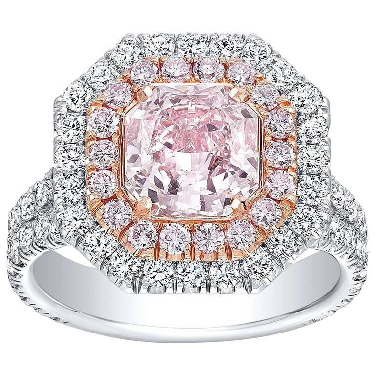 pink sapphire ring engagement light diamond