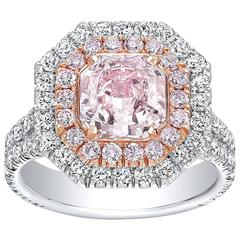 Tamir GIA Certified 1.92 Carat Light Pink Diamond Two Color Gold Ring