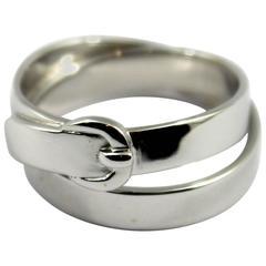 Hermes White Gold Buckle Ring