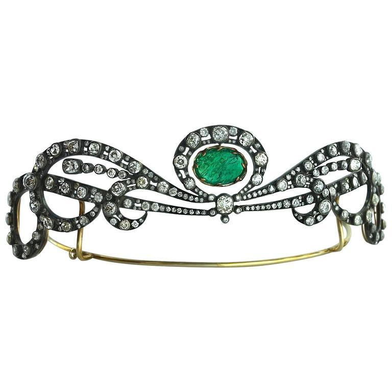 Antique Edwardian Emerald Diamond Tiara For Sale