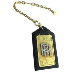 1980s Alexandre Reza Rolls Royce Diamond Gold Platinum Key Chain