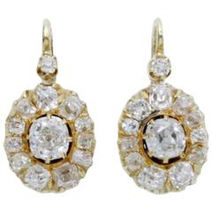 Early 20th Century Russian Pair of Diamond Gold Dormeuses Earrings