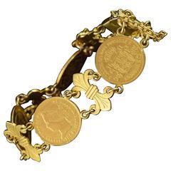 1860s Spanish Fleur De Lis Link Gold Coin Bracelet