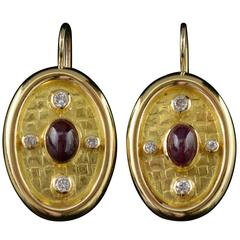 Ruby Diamond Gold Oval Modern Earrings