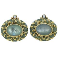 Elizabeth Gage Sumptuous Enamel Quartz Diamond Gold Earrings
