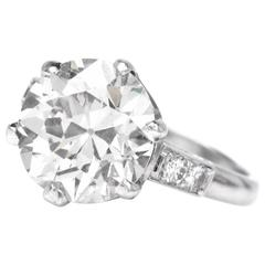 Antique 4.39 Carats European cut diamond  Engagement Ring