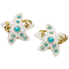 Seaman Schepps Carved Coral and Turquoise Starfish Earclips
