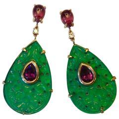 Michael Kneebone Carved Green Agate Amethyst Diamond Gold Dangle Earrings