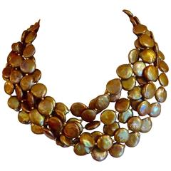 Six Strand Bronze Colored Coin Pearl Torsade Necklace