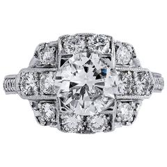 H &H 1.60 Carat Diamond Platinum Engagement Ring