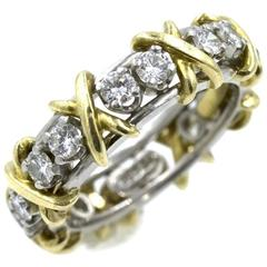 Tiffany & Co. Schlumberger 16 Diamond Gold Platinum X Eternity Band Ring