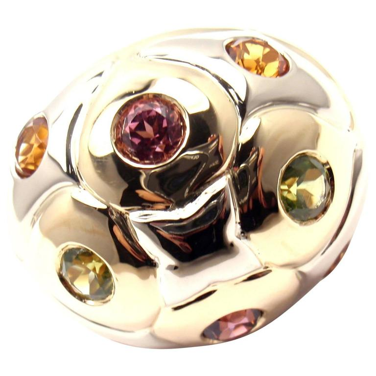 Bulgari Peridot Citrine Pink Tourmaline Two Color Gold Bombe Ring
