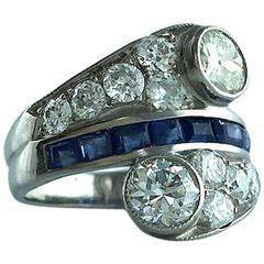 Diamond Sapphire Platinum Vous et Moi Ring