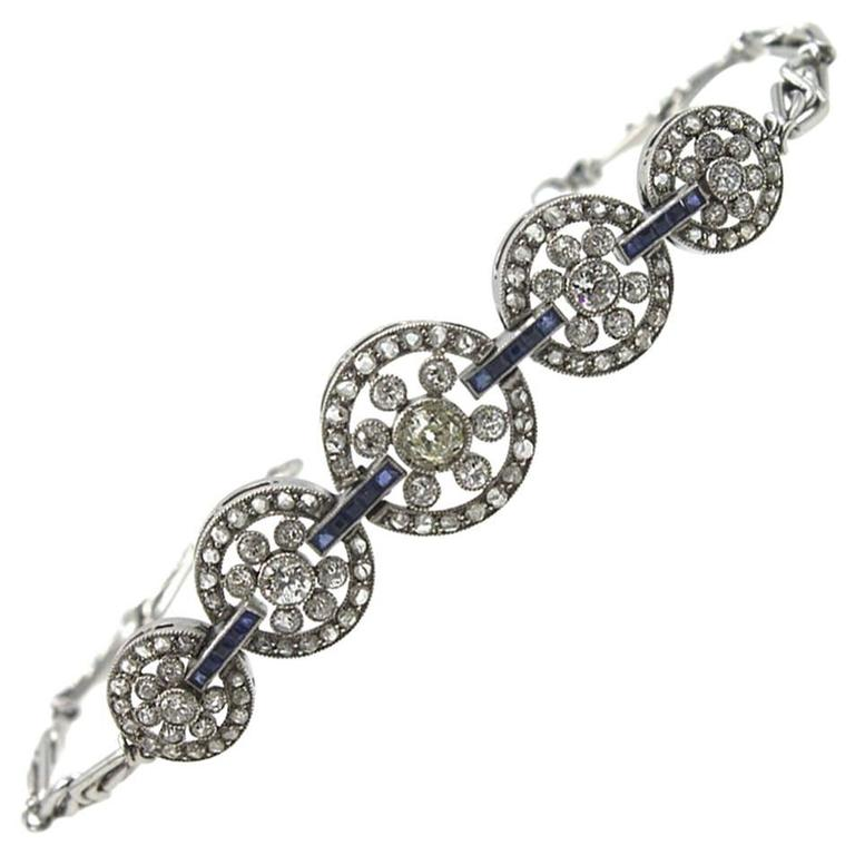 Original Art Deco Diamond Sapphire Platinum Circle Link Bracelet For Sale