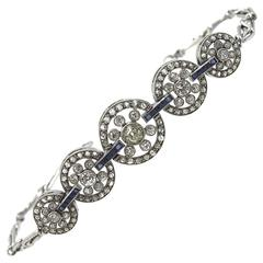 Original Art Deco Diamond Sapphire Platinum Circle Link Bracelet