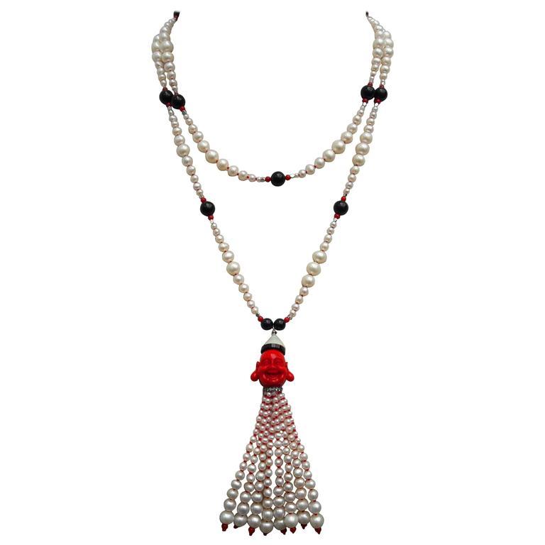 Marina J. Pearl Coral Onyx Silver Bead Sautoir Buddha Necklace