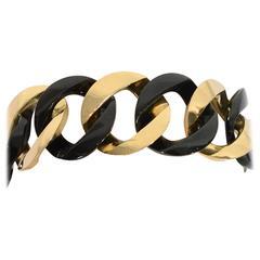 1980s Verdura Black Jade Gold Curbchain Link Bracelet