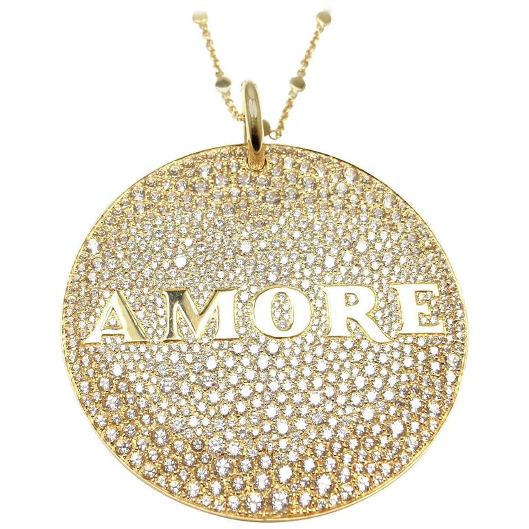 Pasquale Bruni Profondo Amore Diamond Yellow Gold Pendant Necklace