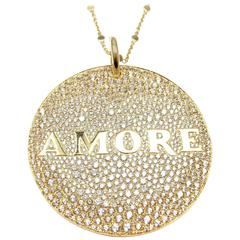 Pasquale Bruni Profondo Amore Diamond Yellow Gold Pendant Necklace