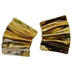 Michael Kneebone Folded Gold Earrings
