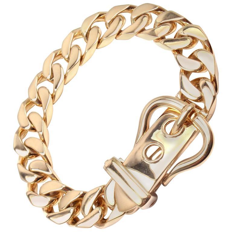 Hermes Large Buckle Gold Curb Link Chain Bracelet For
