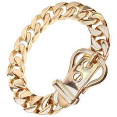 Hermes Large Buckle Gold Curb Link Chain  Bracelet