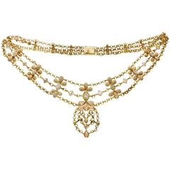 Chatila Geneva Elegant Diamond Gold Festoon Necklace
