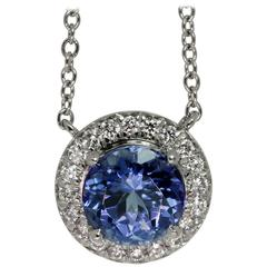 Tiffany & Co. Seleste Tanzanite Diamond Platinum Pendant Necklace