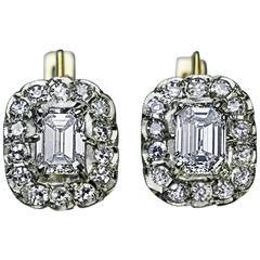 Russian Emerald Cut Diamond Cluster Earrings