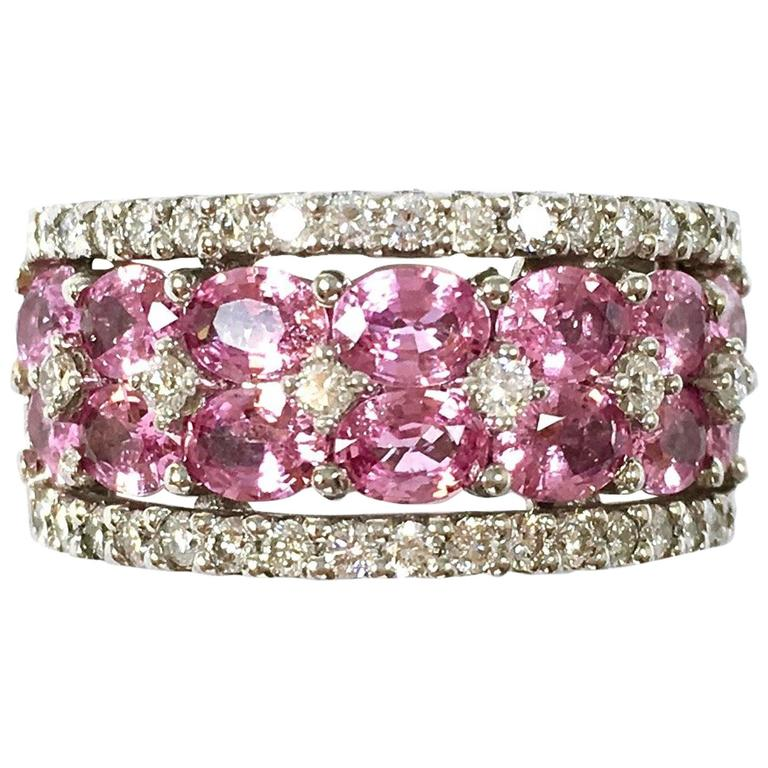 Wide Pink Sapphire and Diamond Gold Band Ring For Sale at ...